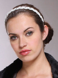 Lustrous Silver Wedding Headband with Crystal Braid-Headband-Here Comes The Bling™