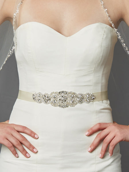 Luxurious Crystal and Pearl Bridal Sash ( Available in Ivory or White)-Sash-Here Comes The Bling™