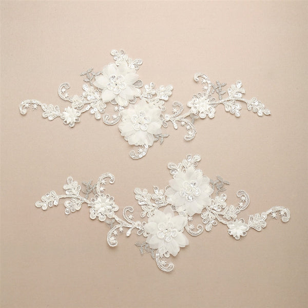 Luxurious Embroidered Bridal Lace Applique with Dimensional Flowers-Applique-Here Comes The Bling™