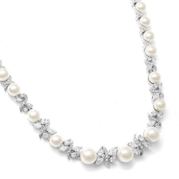 Luxurious Pearl and CZ Bridal Necklace-Necklaces-Here Comes The Bling™