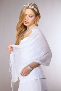 Luxurious White Mesh Wedding or Prom Wrap-Wrap-Here Comes The Bling™