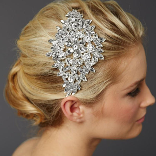 Magnificent Bridal Headpiece with Bold Crystal Sunburst-Combs-Here Comes The Bling™