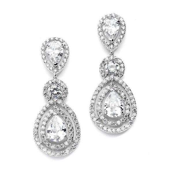 Magnificent CZ Statement Earrings for Weddings and Pageants with Framed Pears-Earrings-Here Comes The Bling™