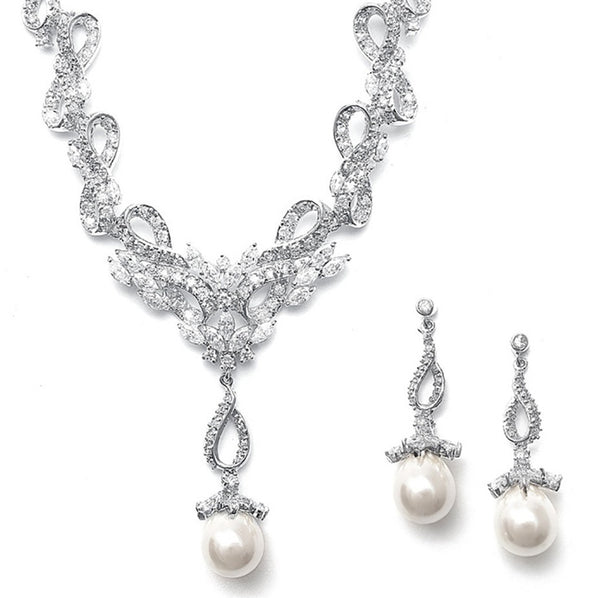 Magnificent Vintage Pavé CZ Necklace Set-Sets-Here Comes The Bling™