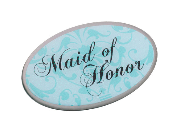 Maid/Honor Pin - Oval Aqua-Pin-Here Comes The Bling™
