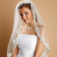 Mantilla Lace Wedding Veil Threaded with Silver Stitching-Veils-Here Comes The Bling™