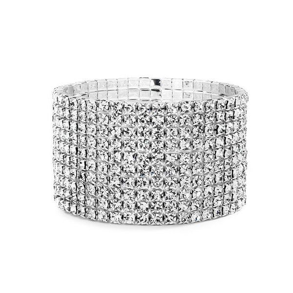 Marilyn 10 Row Rhinestone Silver Stretch Bracelet-Bracelets-Here Comes The Bling™