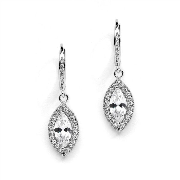 Marquis CZ Drop Wedding Earrings with Vintage Lever Back Tops-Earrings-Here Comes The Bling™