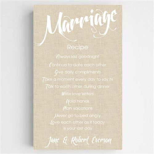 Marriage Recipe Canvas Sign-Sign-Here Comes The Bling™