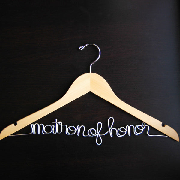 Matron of Honor Script Hanger (Available in 5 Colors)-Hangers-Here Comes The Bling™