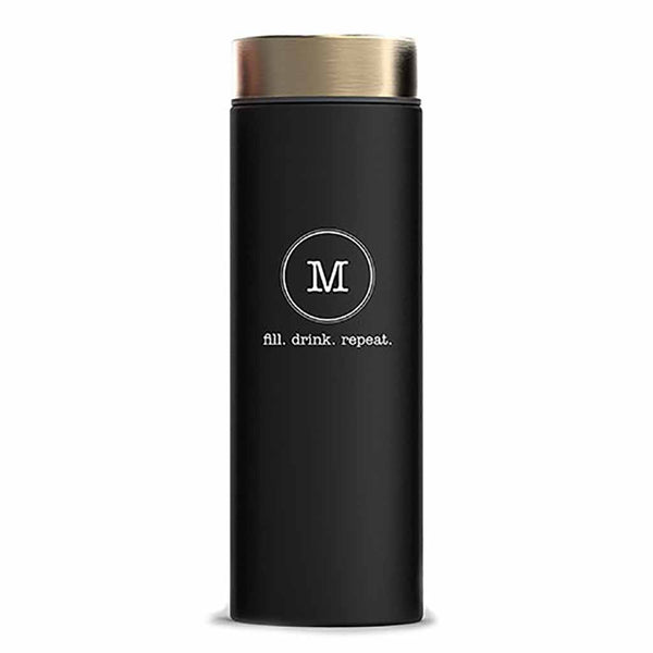"Matte Black & Gold Typewriter Monogram ""Le Baton"" Travel Bottle-Drinkware-Here Comes The Bling™"