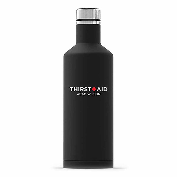 "Matte Black ThirstAid ""Times Square"" Travel Bottle-Drinkware-Here Comes The Bling™"