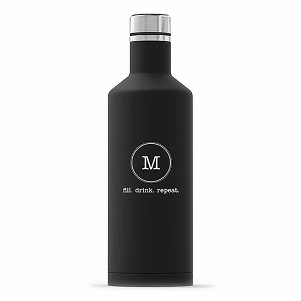 "Matte Black Typewriter Monogram ""Times Square"" Travel Bottle-Drinkware-Here Comes The Bling™"