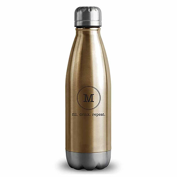"Matte Gold Typewriter Monogram ""Central Park"" Travel Bottle-Drinkware-Here Comes The Bling™"