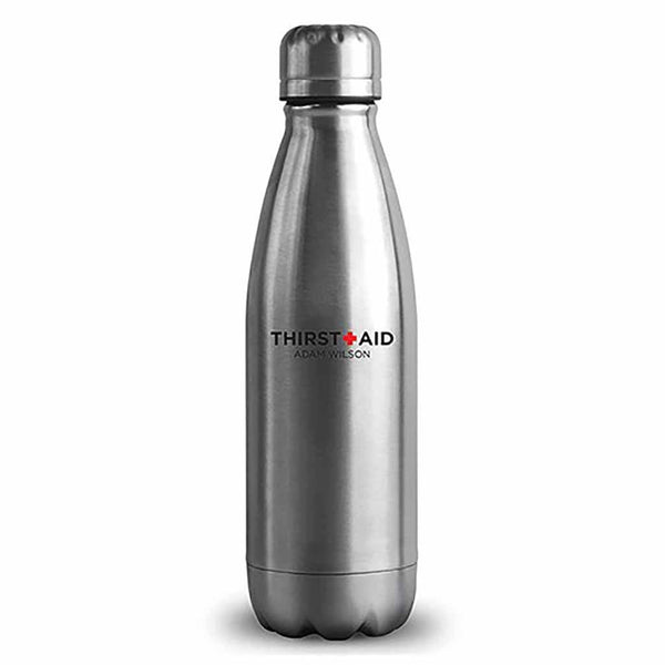 "Matte Silver ThirstAid ""Central Park"" Travel Bottle-Drinkware-Here Comes The Bling™"