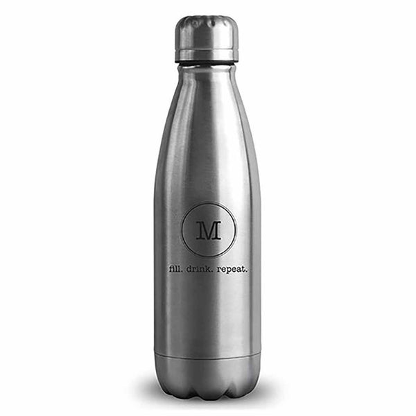 "Matte Silver Typewriter Monogram ""Central Park"" Travel Bottle-Drinkware-Here Comes The Bling™"