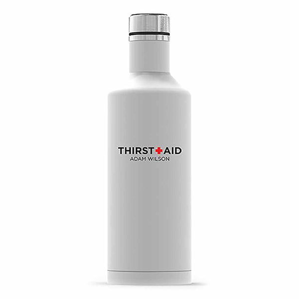 "Matte White ThirstAid ""Times Square"" Travel Bottle-Drinkware-Here Comes The Bling™"