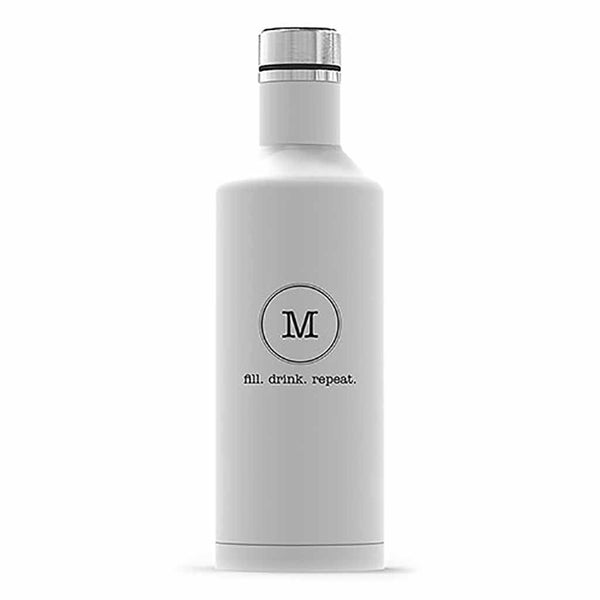 "Matte White Typewriter Monogram ""Times Square"" Travel Bottle-Drinkware-Here Comes The Bling™"