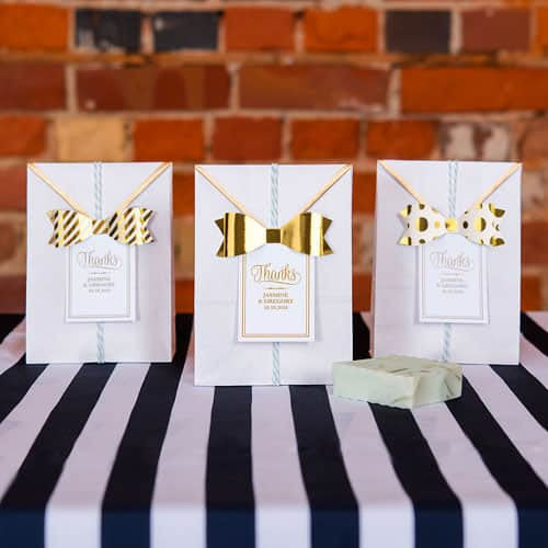 Medium Assorted Metallic Gold Paper Bows (Pack of 12)-Favors-Bows-Here Comes The Bling™