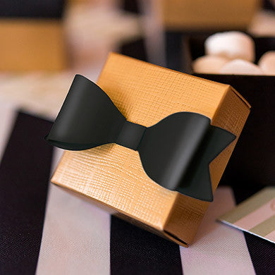 Medium Classic Black Paper Bows Pack of 12-Favors-Bows-Here Comes The Bling™