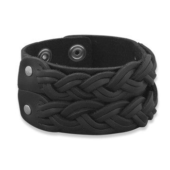 "Men's 8""-8.5"" Leather Fashion Bracelet with Double Braid Design-Mens-Bracelets-Here Comes The Bling™"