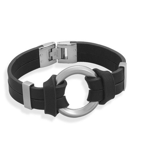 "Men's 8"" Black Leather Bracelet with Center Circle Design-Mens-Bracelets-Here Comes The Bling™"
