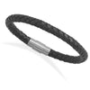 "Mens 8"" Braided Black Leather Bracelet-Mens-Bracelets-Here Comes The Bling™"