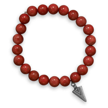 "Men's 8"" Red Coral Stretch Bracelet with Pewter Arrow Charm-Mens-Bracelets-Here Comes The Bling™"