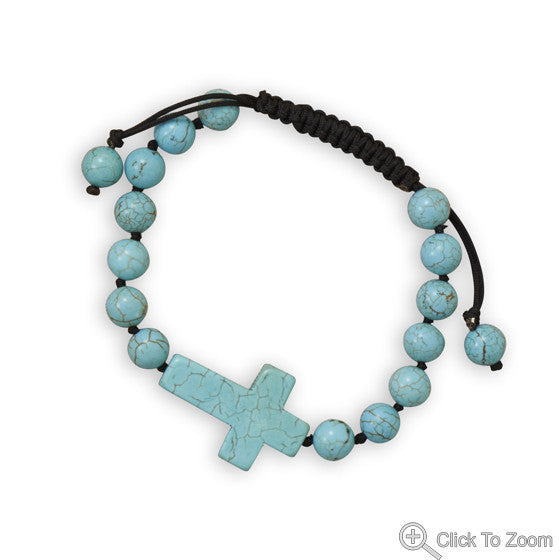 Men's Adjustable Magnesite Cross Bracelet-Mens-Bracelets-Here Comes The Bling™