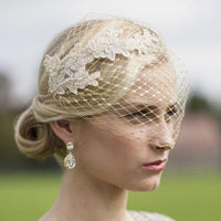 Metallic Gold French Netting Bandeau Bridal Veil with Lace Appliques-Fascinators-Here Comes The Bling™