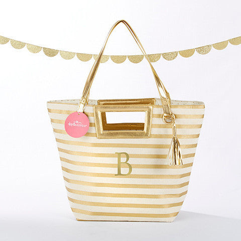 Metallic Gold Striped Tote Bag-Tote Bags-Here Comes The Bling™