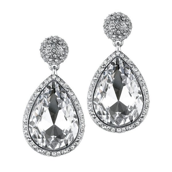 Micro Pave and AB Teardrop Bridal & Prom Statement Earrings-Earrings-Here Comes The Bling™