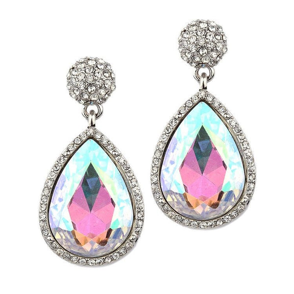 Micro Pave and Clear Teardrop Bridal & Prom Statement Earrings-Earrings-Here Comes The Bling™