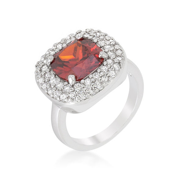 Micropave Red Bridal Cocktail Ring-Rings-Here Comes The Bling™
