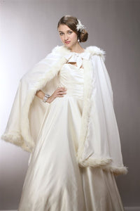 Mid Length Hooded Satin Bridal Cloak with Faux Angora Trim-Coverage-Here Comes The Bling™