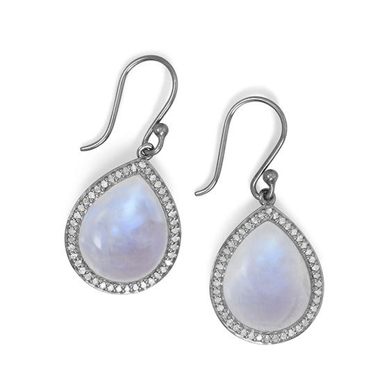 Midnight Collection Drop Earrings With Gray Diamonds-Earrings-Here Comes The Bling™