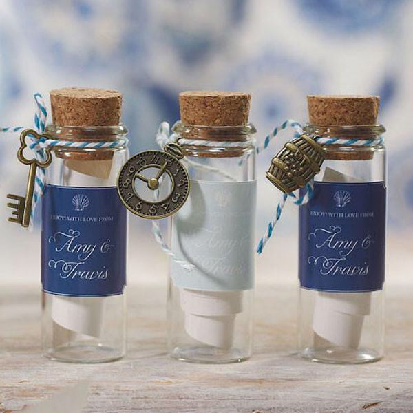Mini Clear Glass Bottle with Cork Pack of 6-Favors-Bottles-Here Comes The Bling™