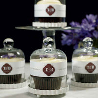 Mini Glass Bell Jar with Fluted White Base (Set of 4)-Favors-Containers-Here Comes The Bling™
