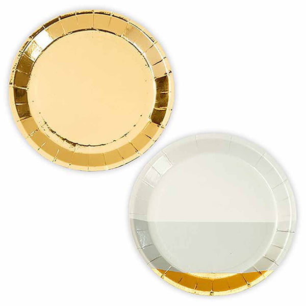 Mini Gold Foil And Grey Appetizer Party Plates (Pack of 16)-Dinnerware-Here Comes The Bling™