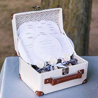 Mini Vintage Suitcase Wishing Well with Luggage Tag-Card Box-Here Comes The Bling™