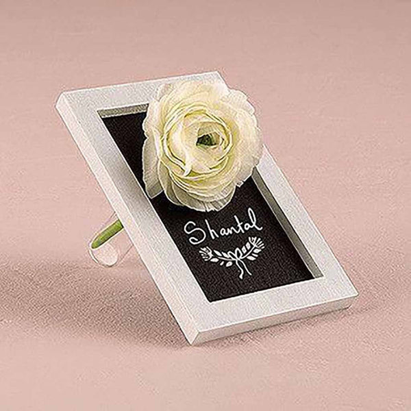 Miniature Framed Chalkboard with Glass Flower Holder White Pack of 6-Place Card Holder-Here Comes The Bling™