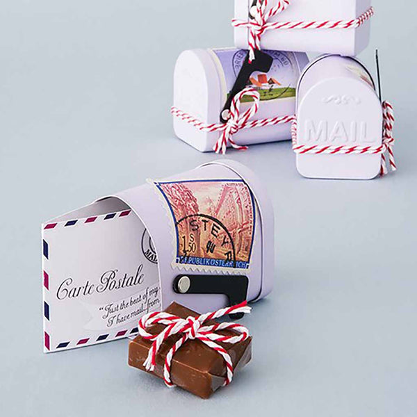 Miniature Vintage Inspired Mail Box Tin (Pack of 6)-Favors-Containers-Here Comes The Bling™