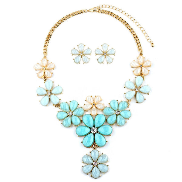 Mint Flower Power Statement Necklace Set-Sets-Here Comes The Bling™