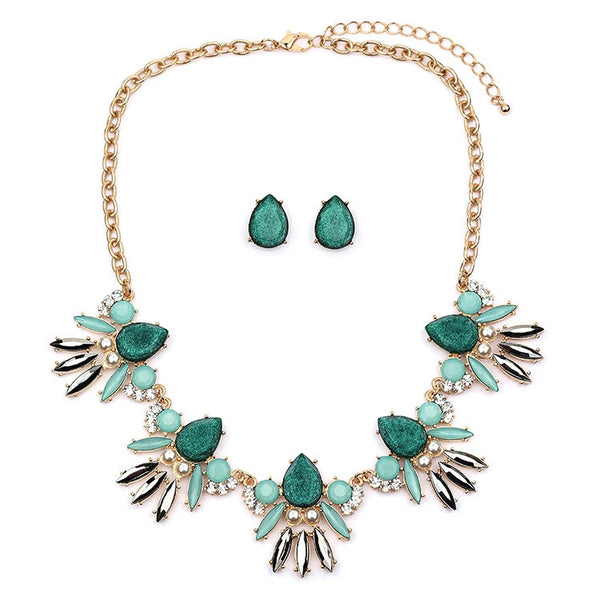 Mint Opal Green Glitter Statement Necklace Set-Sets-Here Comes The Bling™