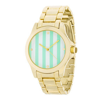 Mint Stripe Dial Gold Watch-Watches-Here Comes The Bling