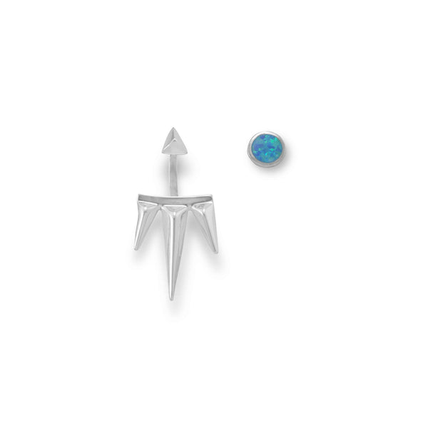 Mismatch Synthetic Opal and Spike Front Back Earrings-Earrings-Here Comes The Bling™