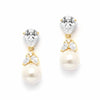 Mixed Pear Shaped Cz and Pearl Drop Bridal Earrings in Gold-Earrings-Here Comes The Bling™