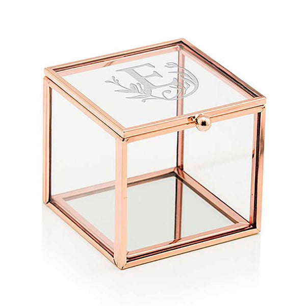 """Modern Fairy Tale"" Etched Monogram Rose Gold Small Glass Jewelry Box-Jewelry Box-Here Comes The Bling™"