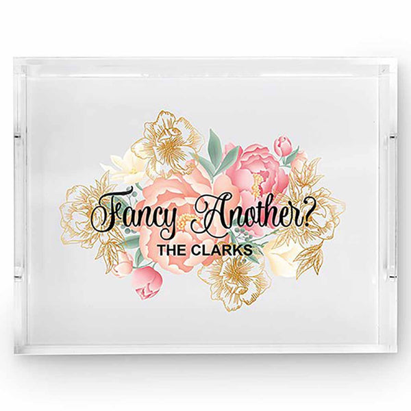 "Modern Floral ""Fancy Another?"" Rectangular Acrylic Tray-Decor-Tray-Here Comes The Bling™"