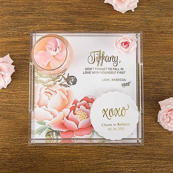 Modern Floral Foiled Print Personalized Square Acrylic Tray-Decor-Tray-Here Comes The Bling™